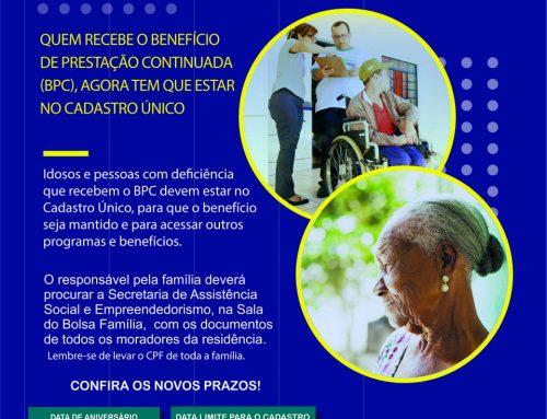 BPC/LOAS: novos prazos para recadastramento dos beneficiários