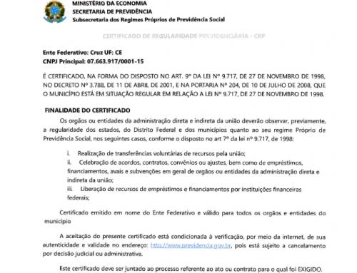 PrevCruz tem Certificado de Regularidade Previdenciária renovado